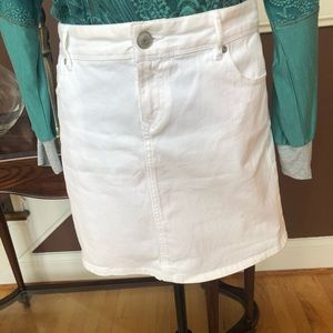 Ann Taylor LOFT White Denim Mini Skirt